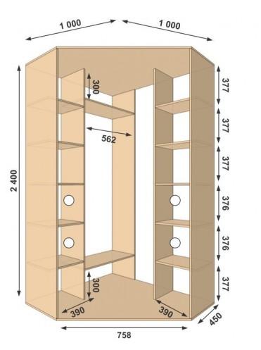 Угловой шкаф-купе 1000х1000