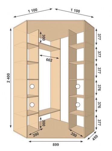 Угловой шкаф-купе 1100х1100