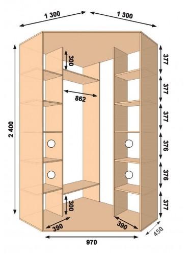 Угловой шкаф-купе 1300х1300