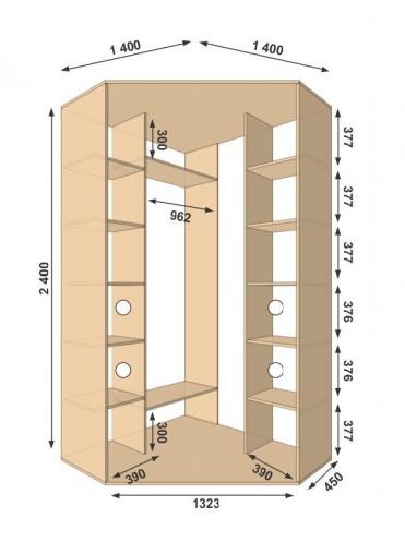 Угловой шкаф-купе 1400х1400