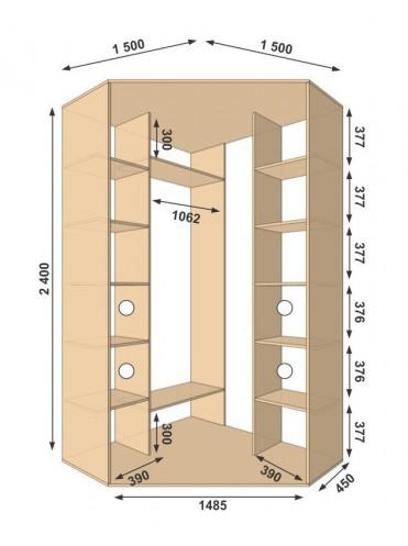 Угловой шкаф-купе 1500х1500