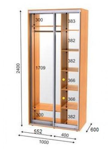 Стандартный шкаф-купе ЭКО-1 (1.0х0.6х2.4)