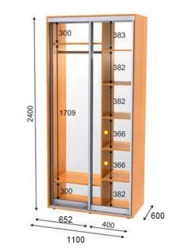 Стандартный шкаф-купе ЭКО-1 (1.1х0.6х2.4)