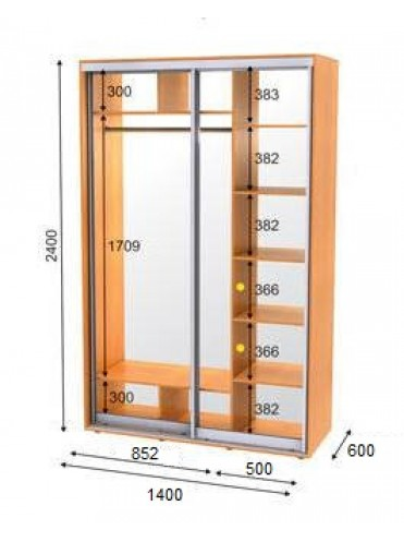 Стандартный шкаф-купе ЭКО-1 (1.4х0.6х2.4)