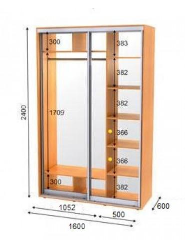 Стандартный шкаф-купе ЭКО-1 (1.6х0.6х2.4)