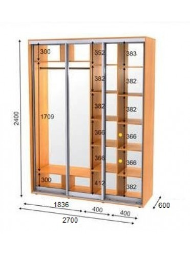 Стандартный шкаф-купе ЭКО-2 (2.7х0.6х2.4)