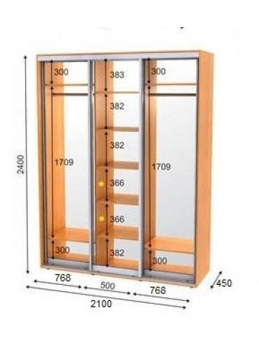 Стандартный шкаф-купе ЭКО-3 (2.1х0.45х2.4)