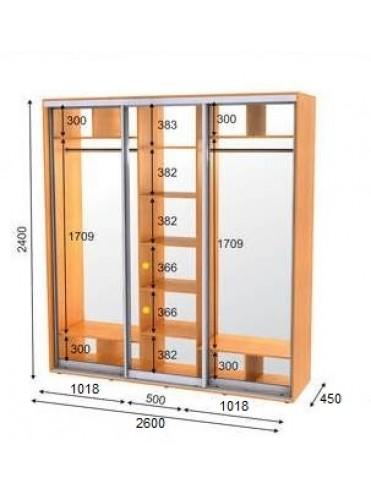 Стандартный шкаф-купе ЭКО-3 (2.6х0.45х2.4)