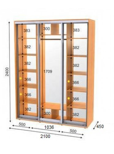 Стандартный шкаф-купе ЭКО-4 (2.1х0.45х2.4)