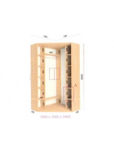 Угловой шкаф-купе (1.3х1.3х2.4)