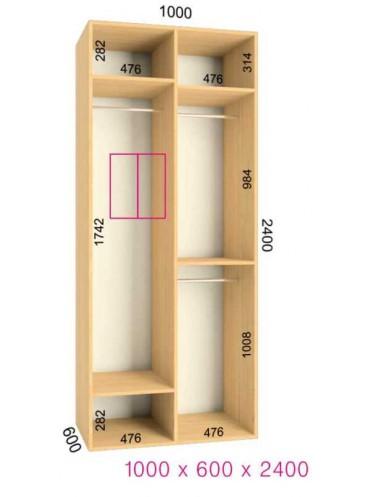 Стандартный шкаф-купе Ультра (1.0х0.60х2.4)