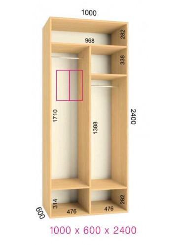Стандартный шкаф-купе Люкс (1.0х0.60х2.4)