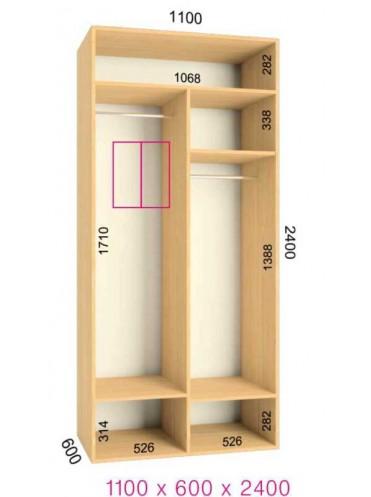 Стандартный шкаф-купе Люкс (1.1х0.60х2.4)