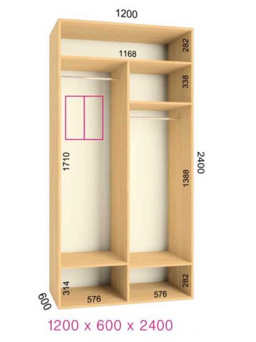Стандартный шкаф-купе Люкс (1.2х0.60х2.4)