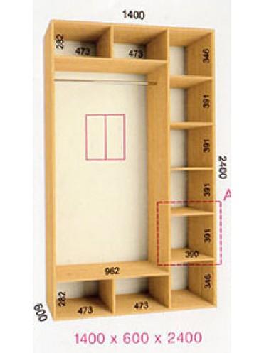 Стандартный шкаф-купе Стандарт (1.4х0.60х2.4)