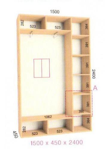 Стандартный шкаф-купе Стандарт (1.5х0.45х2.4)