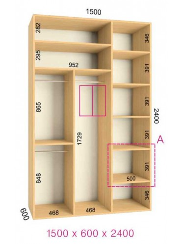 Стандартный шкаф-купе Люкс (1.5х0.60х2.4)