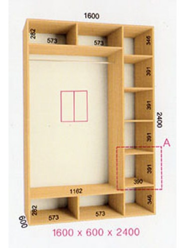 Стандартный шкаф-купе Стандарт (1.6х0.6х2.4)