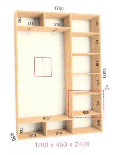 Стандартный шкаф-купе Стандарт (1.7х0.45х2.4)