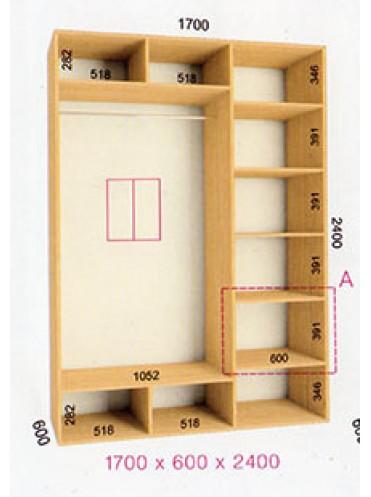 Стандартный шкаф-купе Стандарт (1.7х0.60х2.4)