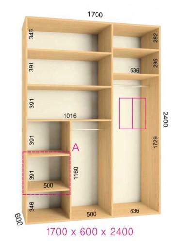 Стандартный шкаф-купе Люкс (1.7х0.60х2.4)