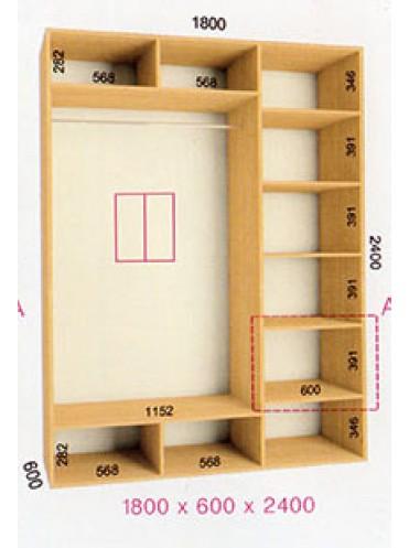 Стандартный шкаф-купе Стандарт (1.8х0.60х2.4)