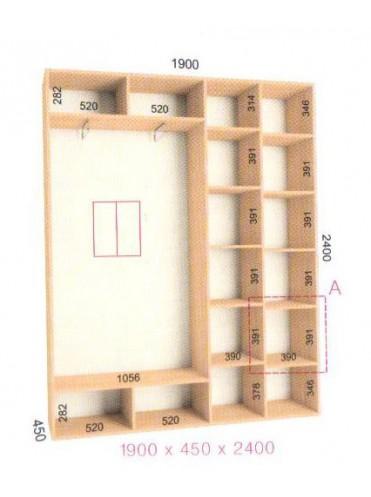 Стандартный шкаф-купе Стандарт (1.9х0.45х2.4)