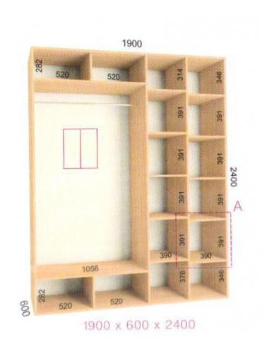 Стандартный шкаф-купе Стандарт (1.9х0.60х2.4)