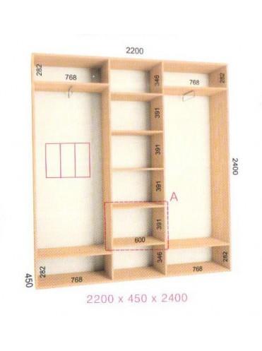 Стандартный шкаф-купе Стандарт (2.2х0.45х2.4)