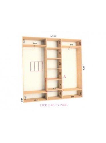 Стандартный шкаф-купе Стандарт (2.4х0.45х2.4)