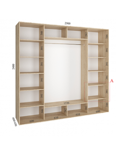 Стандартный шкаф-купе Стандарт (2.5х0.60х2.4)