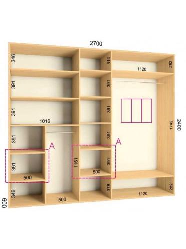 Стандартный шкаф-купе Люкс (2.7х0.60х2.4)