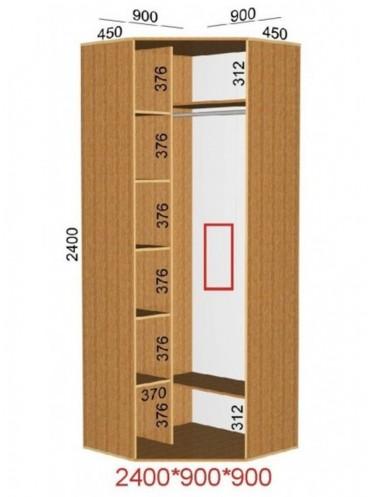 Угловой шкаф-купе (0.9х0.9м)