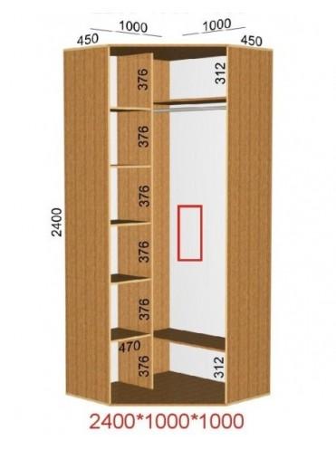 Угловой шкаф-купе (1.0х1.0м)