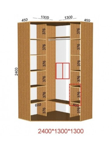 Угловой шкаф-купе (1.3х1.3м)