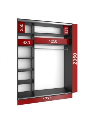 Стандартный шкаф-купе (1800х600х2400) Уни